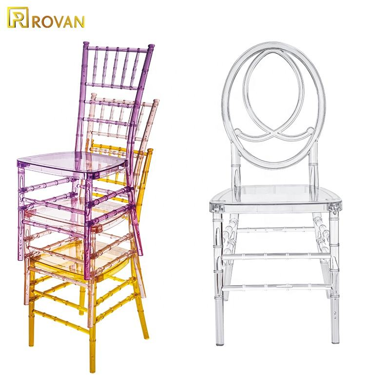 Rovan furniture wholesale cheaper wedding and event acrylic chair clear transparent round back rentals resin phoenix chair