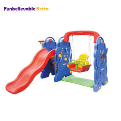 Baby plastic indoor slide and swing toy set for kid
