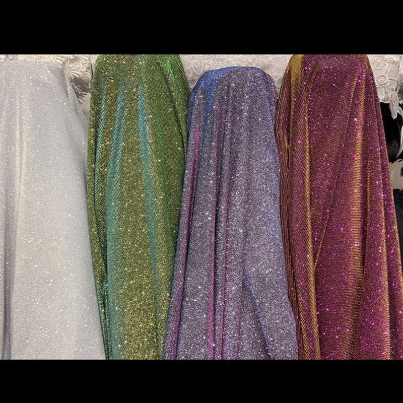 Two Tone Polyester Knitted Iridescent Fabric With Glitter for Women's Prom Dress