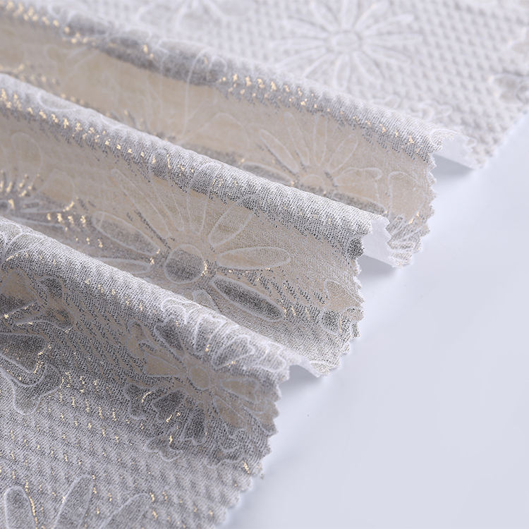 Fast shipment 100 polyester twill knitting jacquard embossed french crepe fabric price