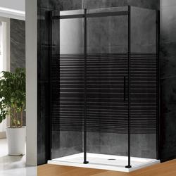 Frameless  shower  enclosure black