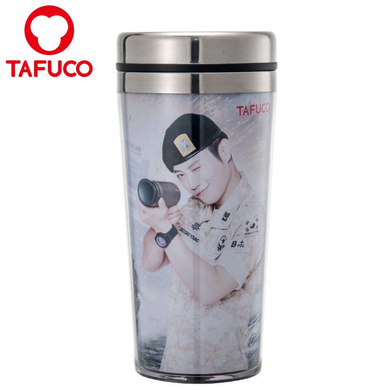 Anuncio inserto de papel de doble pared de acero inoxidable interior exterior de plástico taza de café