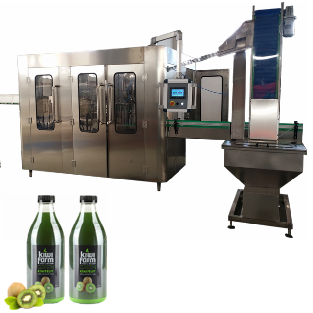 Kleine papaya sap making machine productie/ananas plantmachine/monoblock vulmiddel en capper