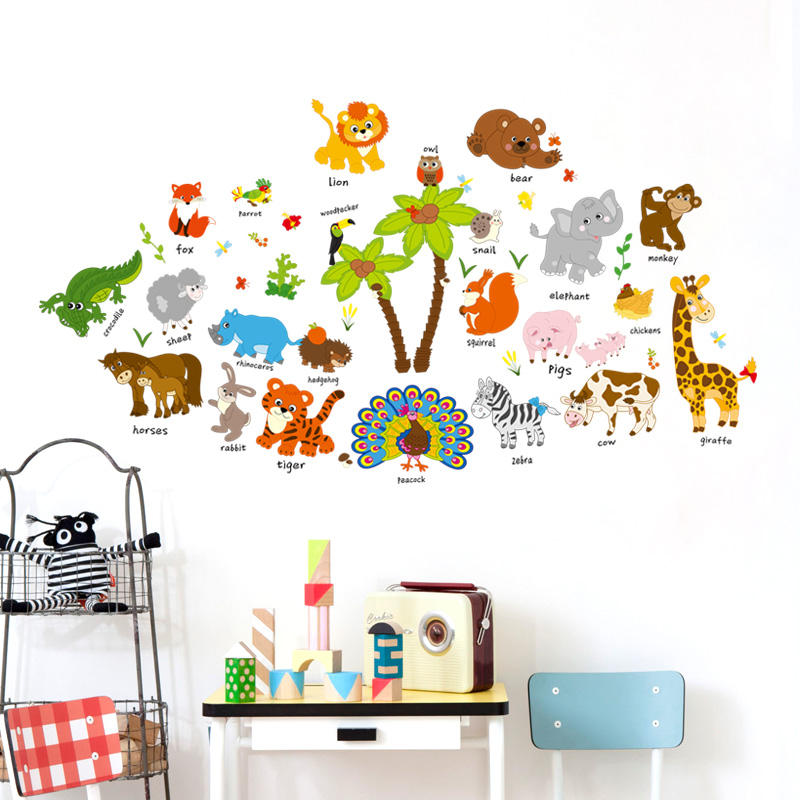 Removable PVC Colorful Animal 3D Kids Sticker Home Decor Background Wall sticker