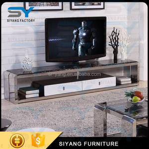 Industrial custom media console solid steel bracket marble tv stand DS003