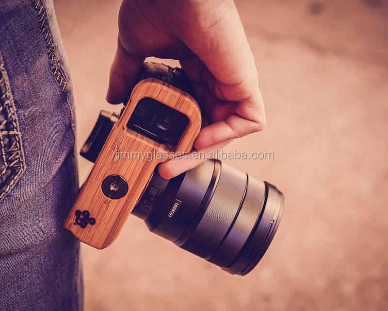 Natural Hand Polished Bamboo Grip Camera Wood Grip Handle Accessory