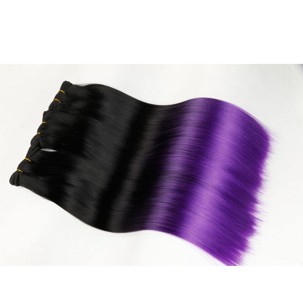 New Arrival two tone silk straight synthetic ombre hair extensions plus hair weave