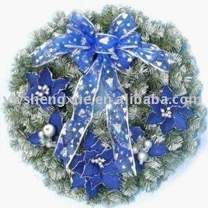 Artificial wreaths ,blue wreaths, with blue christmas flower and blue silk bow