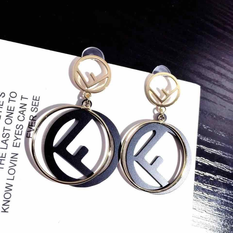 fashion letter F charm earring