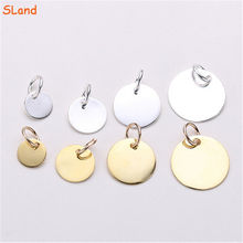 SLand Jewelry wholesale high quality silver/gold/rose gold plated Round circle 925 Sterling Silver Tags Charm Pendant blanks