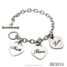 Wholesale bracelet with faith,peace and love pendants, steel stainless bracelet