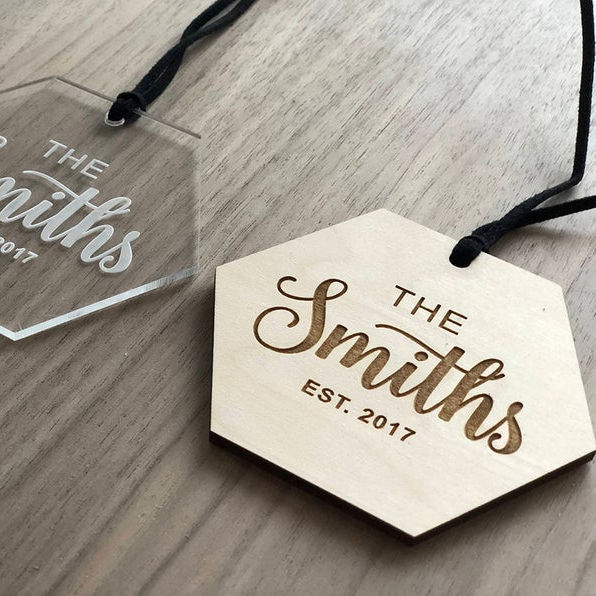 Customized personalized acrylic or wood labels