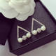 Yiwu Stock Popular Triangle Shaped Crystal Pearl Earring Stud