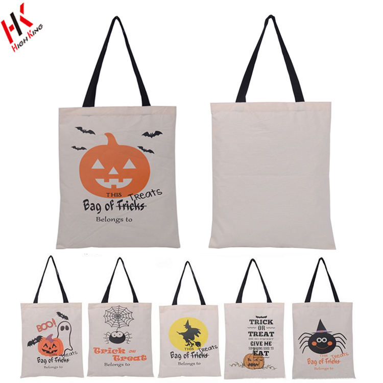 Baru Permen Tas Tahan Lama Halloween Trick Or Treat Tote Bag Katun Kanvas