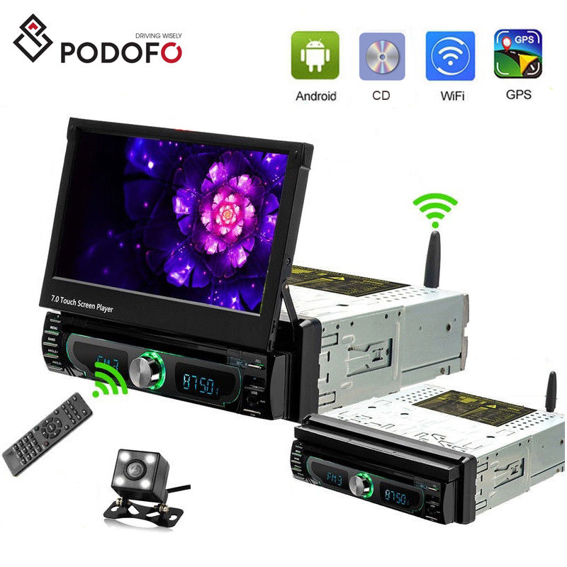 "Podofo Android 8.0 Auto Dvd-speler 1DIN Autoradio 7 ""Radio Stereo Gps Wifi Bt Touch Screen MP5 Afneembare Panel + Camera"
