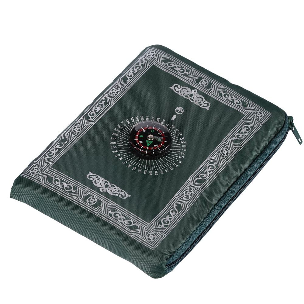 Factory direct sale portable muslim pocket prayer mat with compass