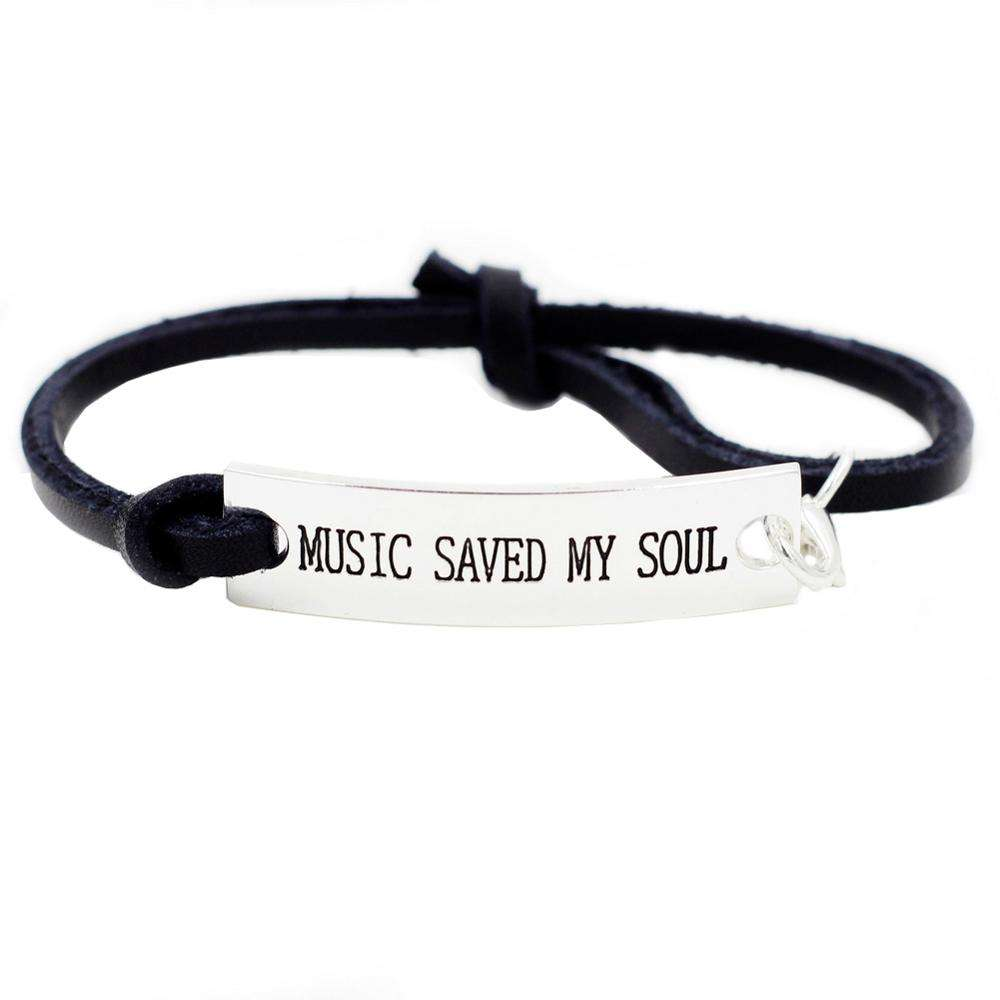 OEM Inspirational Bracelets Stamped Tags Engraved Bracelets Adjustable Bangle Encouraging Sayings-Music saved my soul