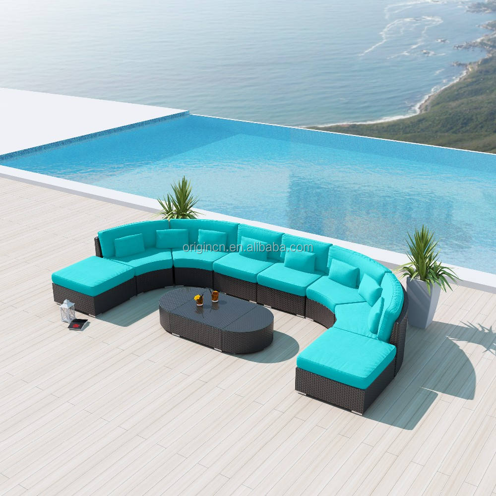 Contemporary U shape large rattan sofa sectional outside furniture pool outdoor