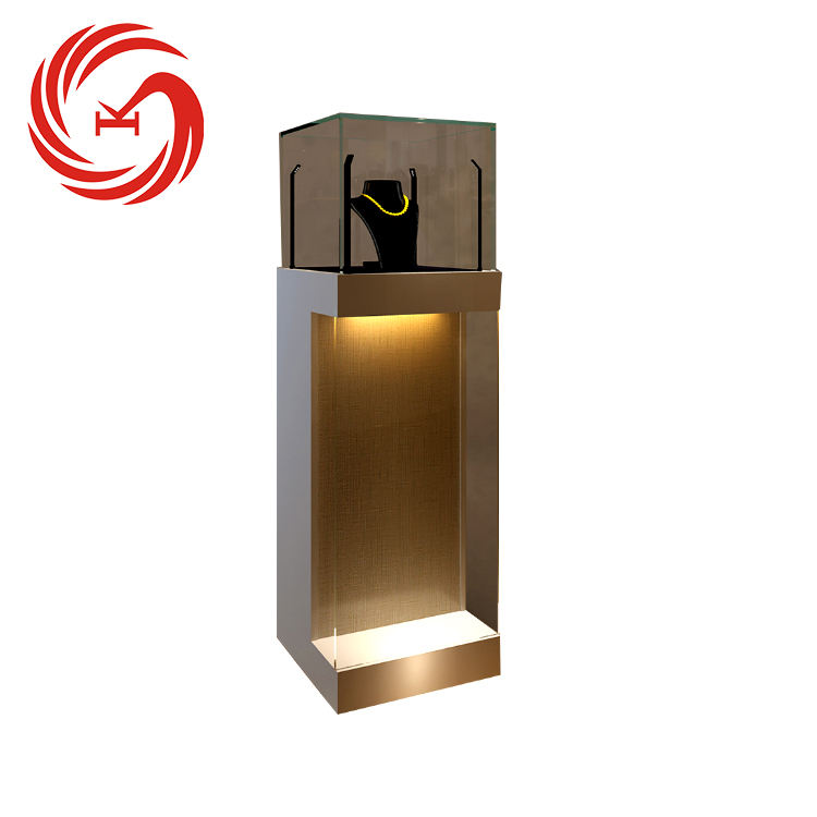Luxury jewelry store fixtures wooden jewellery showcase wall jewelry display units
