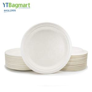 YTBagmart 9 Inch Round White Sugarcane Bagasse Biodegradable Disposable Paper Pulp Plate