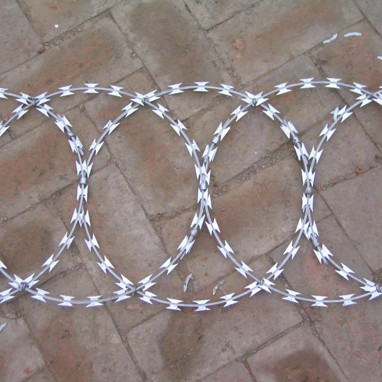 Cross loop coil stainless steel or hot dipped galvanized bto sharp concertina razor clips blade barbed wire mesh fence price