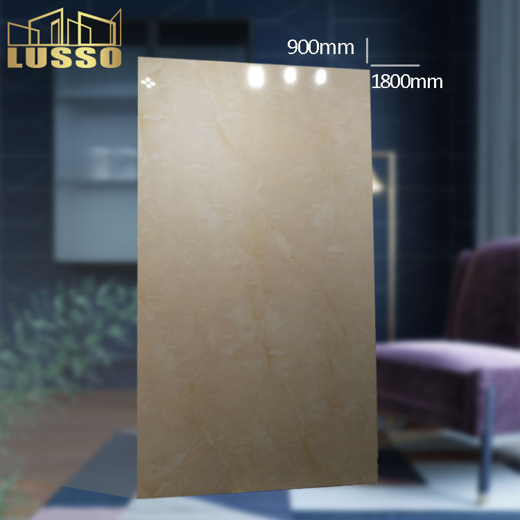 900X1800X8mm BRAZIL STONE Beige Marble Look Large Format Paving and Hanging Polished Porcelain Big Size Tile
