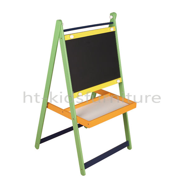 HT-EB006 53X52X(H)99cm Easy Assembly Multiple Colors Kids Easel, Best Sale Wooden Kids Easel With Blackboard