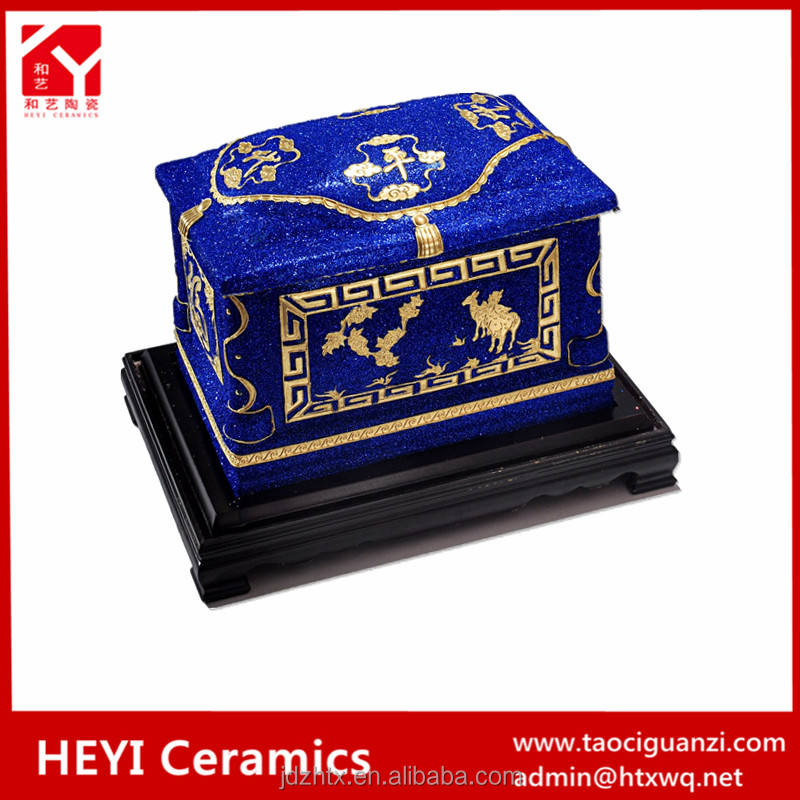 blue color Funeral equipment casket with interior decoration