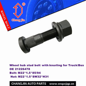 Wheel hub stud bolt 21226478 with knurling for Truck/Bus