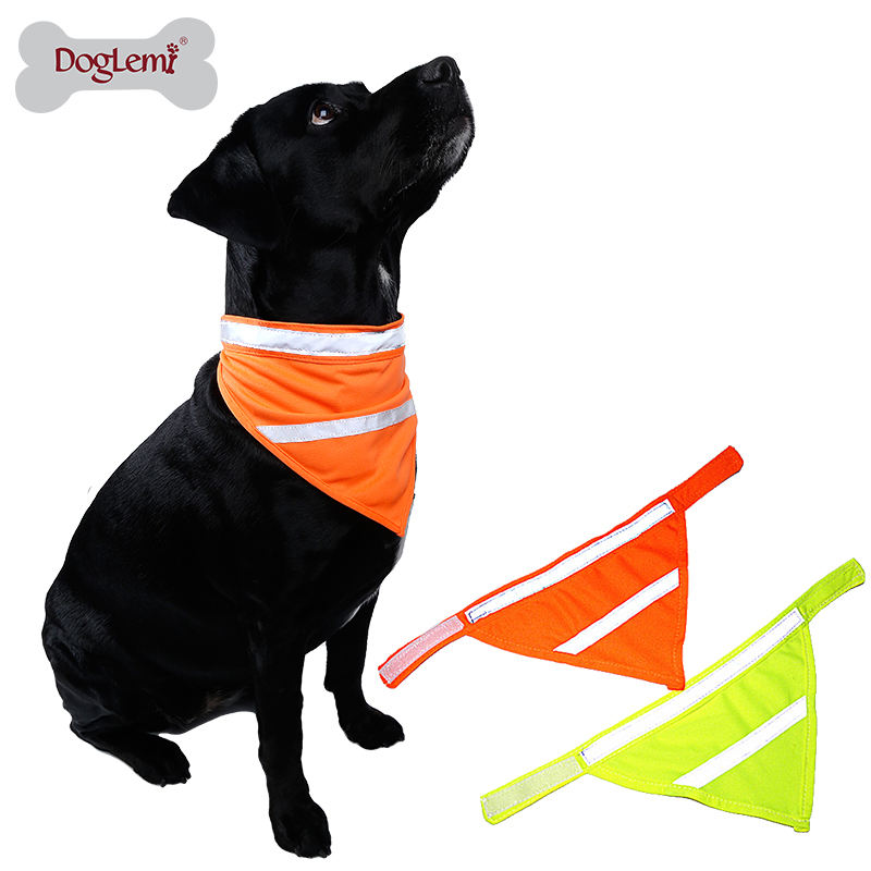 New Design High Visivility Safety Dog Scarf Pet Bandana With Reflecting Neon Color