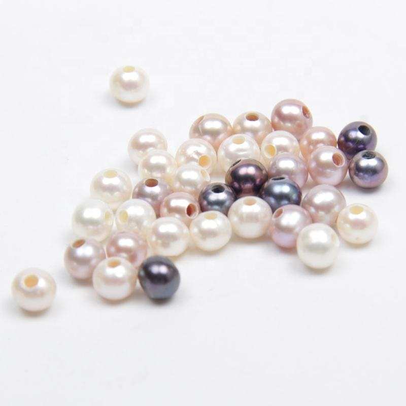 Jewelry making 6-7mm round AAA fully drilled charcoal freshwater pearl large hole