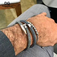 Stock Luxury Men Genuine Stingray Leather Nail Bracelet Cuff Wristband Bangle 316L Stainless Steel