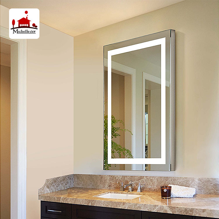 30*40 30*50 40*50 cm orthogon decorative framed wall mirrors bathroom led light white rectangle wall mirror