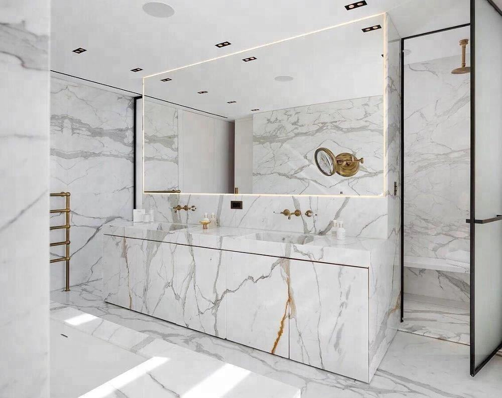 calacatte white marble tile for flooring