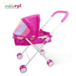 Pink Baby Silding Stroller Doll Accessories Trolley Doll Furniture Baby Carriage Stroller Doll Toys For Girls Gifts