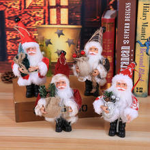 1PCS Christmas Santa Claus Ornament Decoration Figure Collection Standing Traditional Table Decor Red with Bag Tree Table Stand
