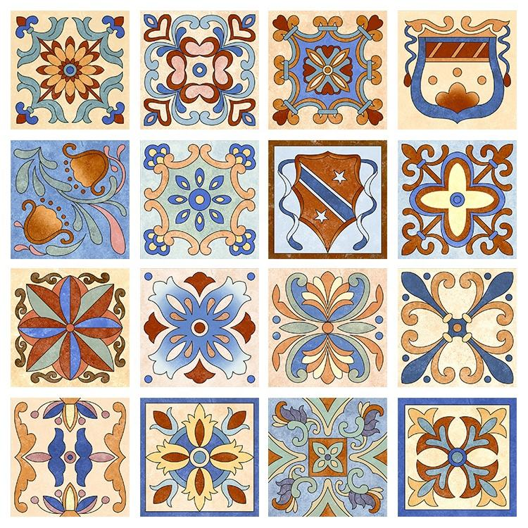 Ancient 8 inch Classic Hand Painted Portuguese Cement Effect Decorative Ceramic Tile 200x200
