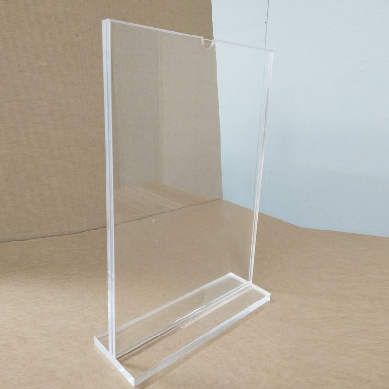 Custom size plastic A4 paper acrylic standing sign holder / display stand
