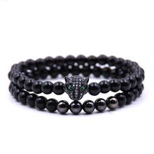 High Quality Men Small Matt Onyx Bead Black Panther Bracelet