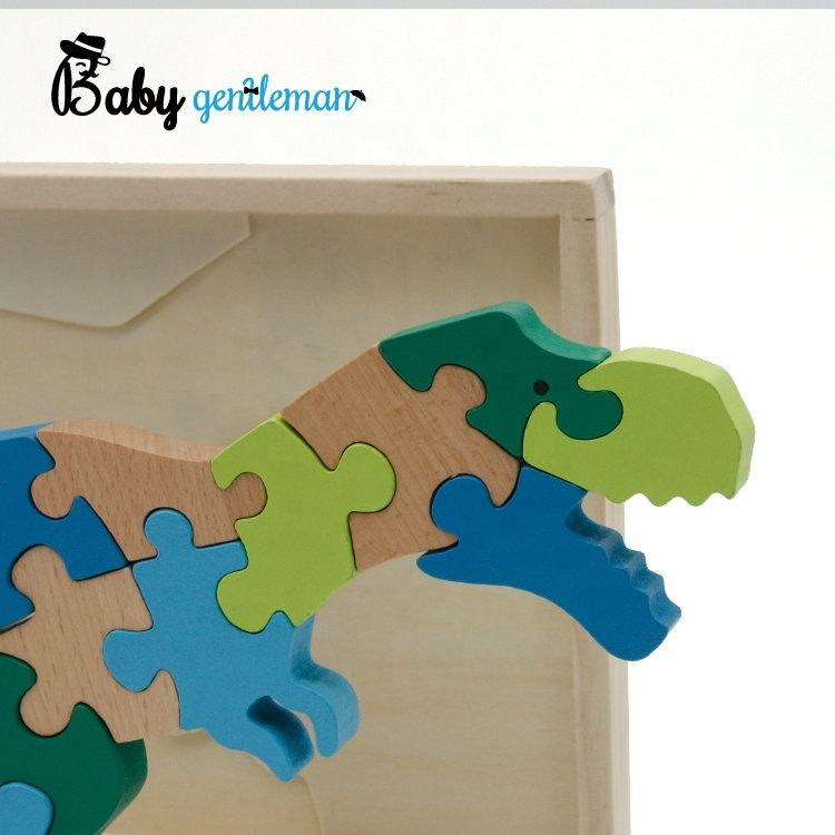 Solid Wood Free Puzzle Free Sample Educational 3d Wooden Dinosaur Puzzle For Kids Z14034I