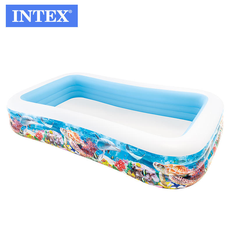intex 58485 inflatable pool swimming center happy fish family pool
