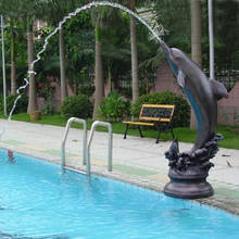 Hot sale factory supplied swimming pool decoration stone outdoor dolphin water fountain