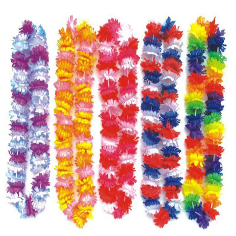 Hot hawaiian flower lei colorful artificial hot sale flower wreath flower lei