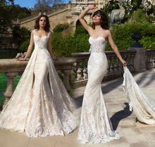 ASWY04 Elegant Two Pieces Detachable Train Lace Bridal Pictures of Beautiful Wedding Gowns