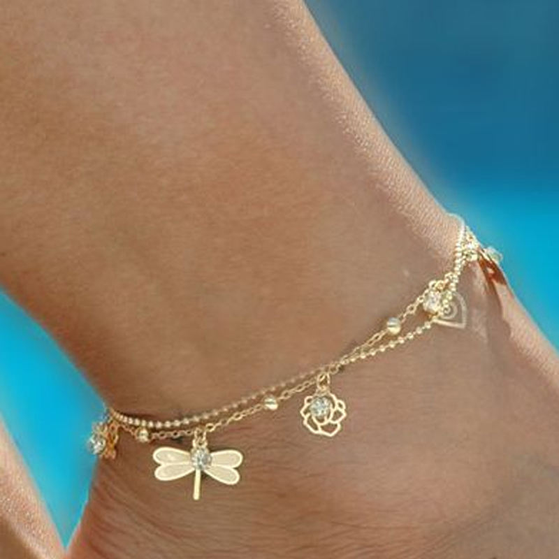 Europe Summer New Arrival Simple Design Double Layers Anklet Gold Plated Leaf Dragonfly Butterfly Rose Shell Chain Anklet