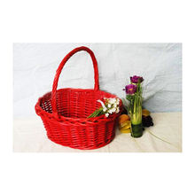 handmade red color easter egg basket decorative wicker easter basket flower basket with handle