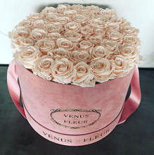 Luxury Pink Suede Velvet Round Cardboard Box Flower Rose Boxes