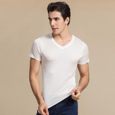 Summer New Men Clothes Silk V-neck Short Sleeved Undershirt Double Knit Men T-shirt