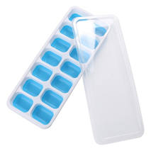 Easy-Release Customize Silicone and PP Flexible 14- Silicone Ice Cube Trays with Spill-Resistant Removable Lid