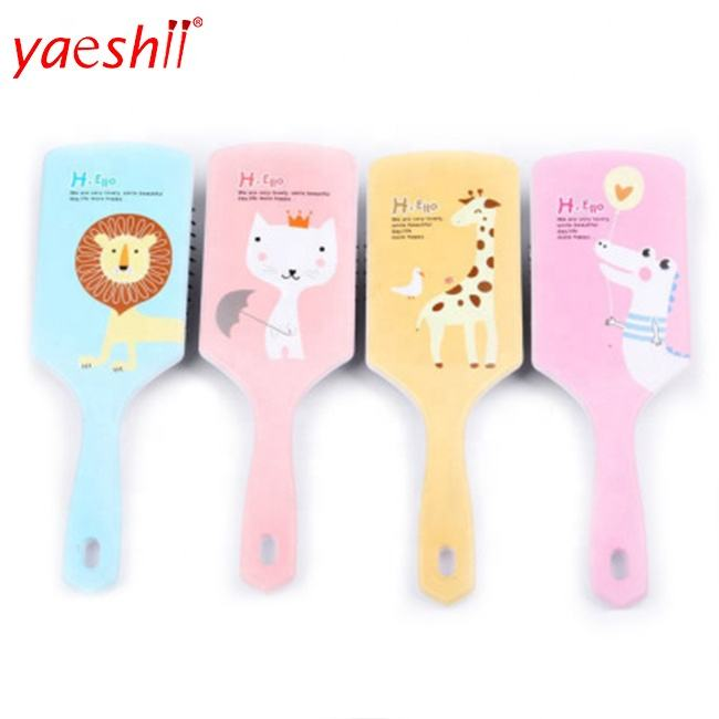 Yaeshii Beauty Care Cotton Bristle Kids Detangling Plastic Wide Tooth Hair Brush Comb